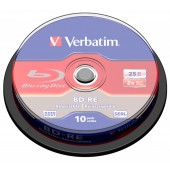 Диск BD-RE Verbatim 25Gb 2x Cake Box (10шт) (43694)
