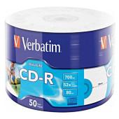 Диск CD-R Verbatim 700Mb 52x bulk (50шт) Printable (43794)