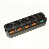 Сетевой удлинитель Most A10 1.6м (6 розеток) черный (пакет ПЭ)