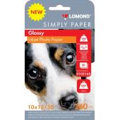 Бумага Lomond Simply 0102165 10x15/260г/м2/50л./белый CIE148% глянцевое для струйной печати