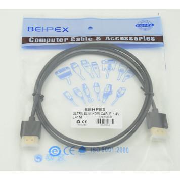 Кабель HDMI (m)/HDMI (m) 1м. Позолоченные контакты черный -1