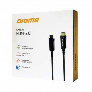 Кабель аудио-видео Digma HDMI 2.0 AOC HDMI (m)/HDMI (m) 50м. Позолоченные контакты черный (BHP AOC 2.0-50) -4