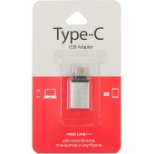 Адаптер Redline УТ000012622 USB Type-C (m) USB 3.0 A(f) серебристый