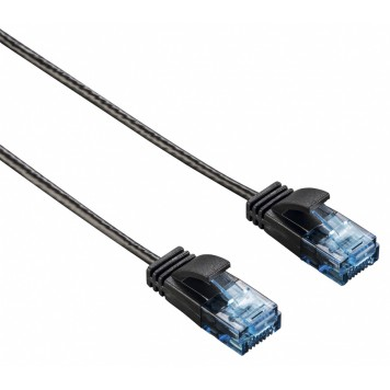 Патч-корд Hama Slim-Flexible UTP 4 пары cat6 0.75м черный RJ-45 (m)-RJ-45 (m) -4