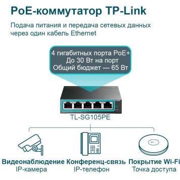 Коммутатор TP-Link TL-SG105PE 5G 4PoE+ 65W управляемый -4