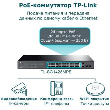 Коммутатор TP-Link JetStream TL-SG1428PE 26G 2SFP 24PoE+ 250W управляемый -5