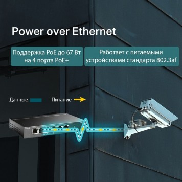 Коммутатор TP-Link TL-SF1006P 6x100Mb 4PoE+ 67W неуправляемый -3
