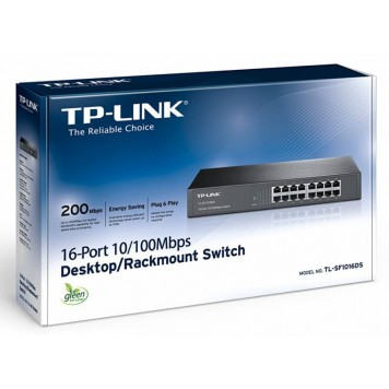 Коммутатор TP-Link TL-SF1016DS 16x100Mb неуправляемый