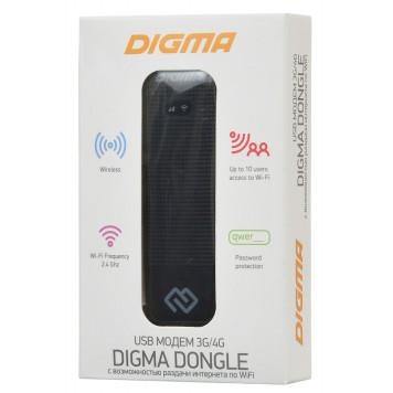 Модем 3G/4G Digma Dongle DW1961 USB Wi-Fi Firewall +Router внешний черный -1