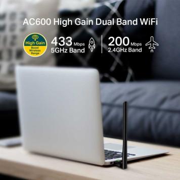 Сетевой адаптер WiFi TP-Link Archer T2U Plus AC600 USB 2.0 (ант.внеш.несъем.) 1ант.