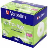 Диск CD-RW Verbatim 700Mb 12x Jewel case (10шт) (43148)