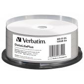 Диск BD-R Verbatim 50Gb 6x Cake Box (25шт) Double Layer Printable (43750)