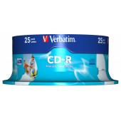 Диск CD-R Verbatim 700Mb 52x Cake Box (25шт) Printable (43439)