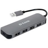 Разветвитель USB 2.0 D-Link DUB-H4 4порт. черный (DUB-H4/E1A)